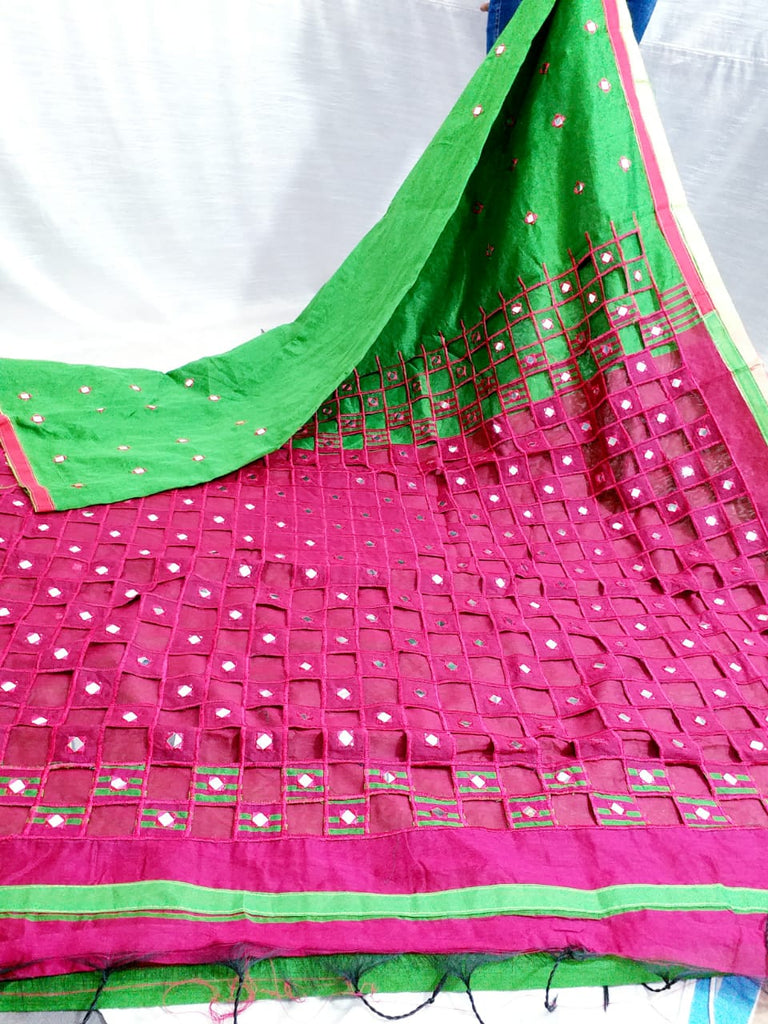 Purple Green K.K Handloom Cotton Silk Sarees