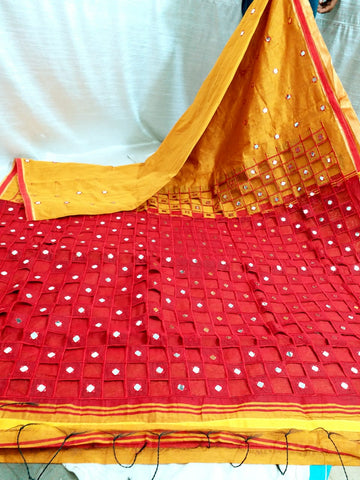Yellow Red K.K Handloom Cotton Silk Sarees