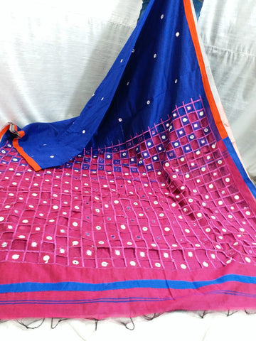 Blue Purple K.K Handloom Cotton Silk Sarees