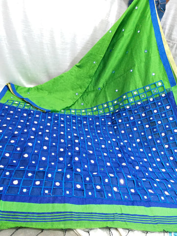 Blue Green K.K Handloom Cotton Silk Sarees
