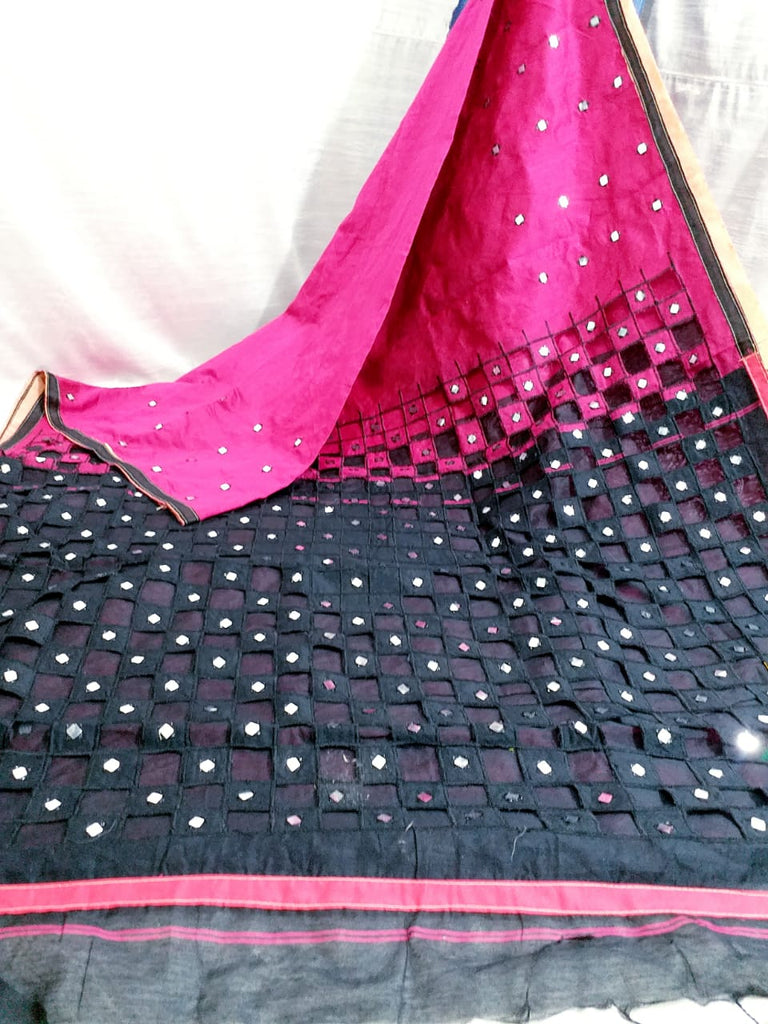 Purple Black K.K Handloom Cotton Silk Sarees
