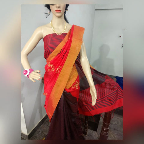 Maroon Orange Dupion Silk Sarees