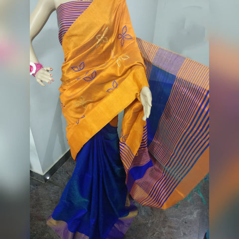 Yellow Blue Dupion Silk Sarees