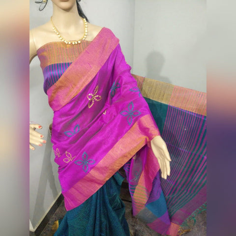 Purple Blue Dupion Silk Sarees