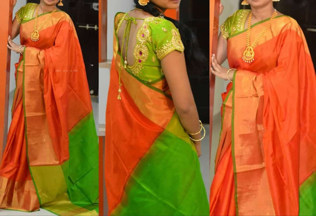Orange Green Uppada Silk Sarees