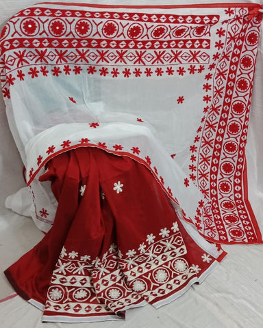 Red White K.K Handloom Cotton Silk Sarees