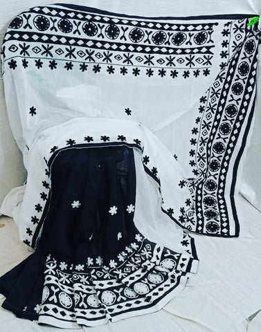 Black White K.K Handloom Cotton Silk Sarees