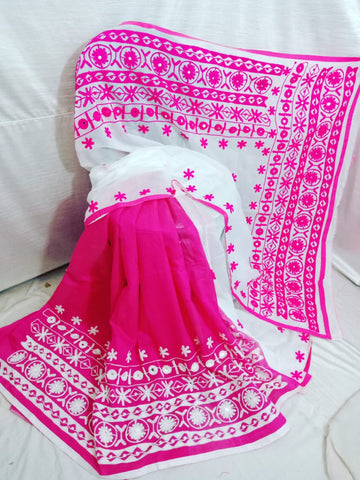 Pink White K.K Handloom Cotton Silk Sarees