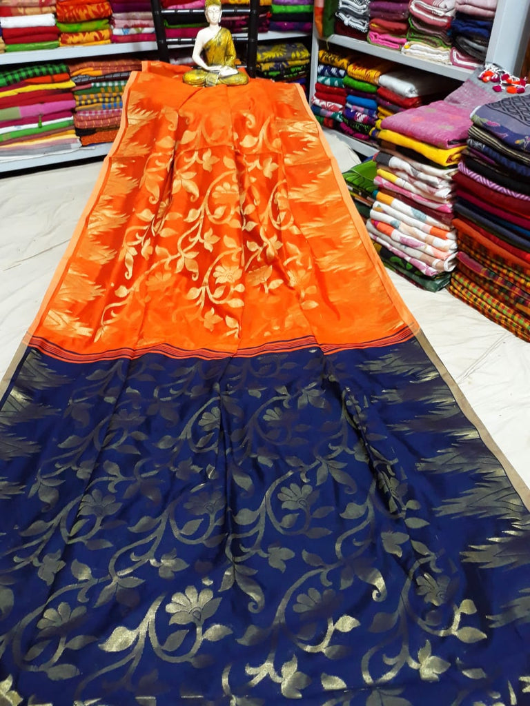 Orange Blue Dhakai Jamdani Sarees