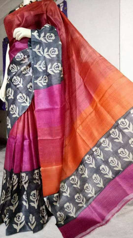Black Purple KK Tussar Silk Sarees