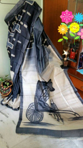 Black Grey KK Tussar Silk Sarees