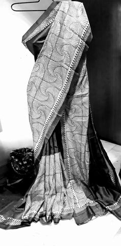 Grey Black KK Tussar Silk Sarees