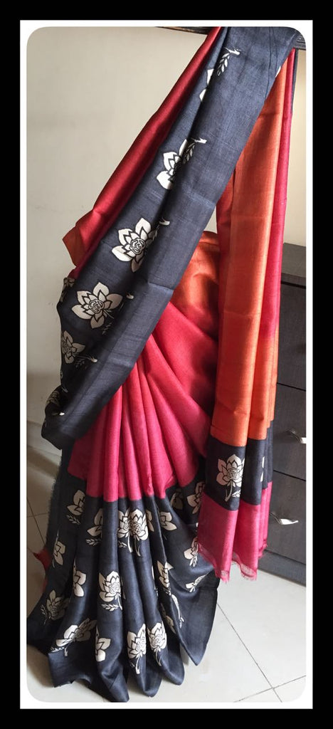 Red Blue KK Tussar Silk Sarees