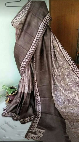 Brown Beige KK Tussar Silk Sarees