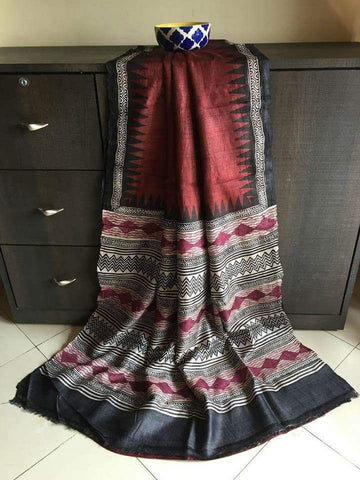 Brown Grey KK Tussar Silk Sarees