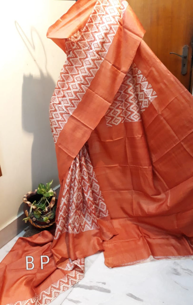 Brown Pink KK Tussar Silk Sarees