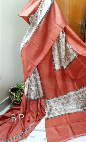 Brown KK Tussar Silk Sarees