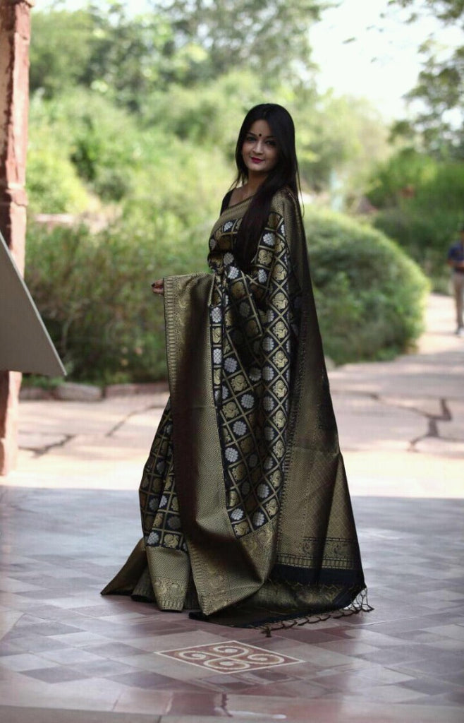 Black Kanchivaram Silk Sarees