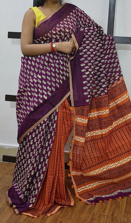Violet Red K.K Handloom Cotton Silk Sarees