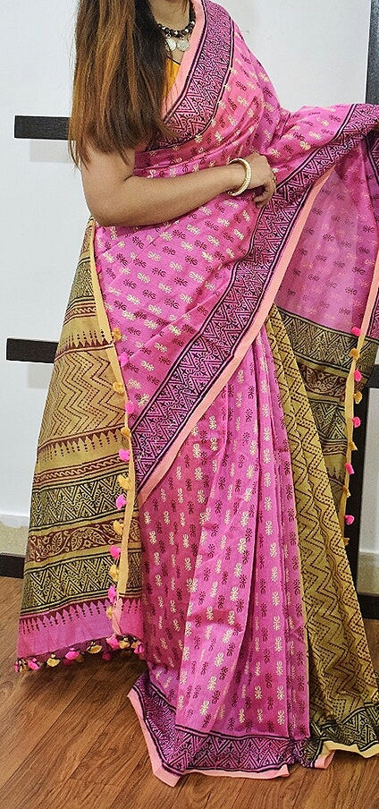 Purple Beige K.K Handloom Cotton Silk Sarees