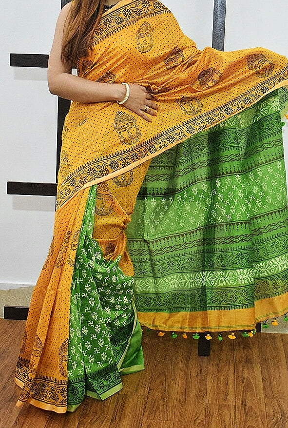 Yellow Green K.K Handloom Cotton Silk Sarees
