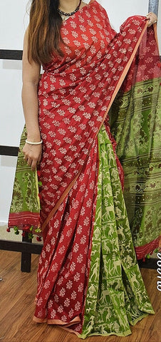 Red Green K.K Handloom Cotton Silk Sarees