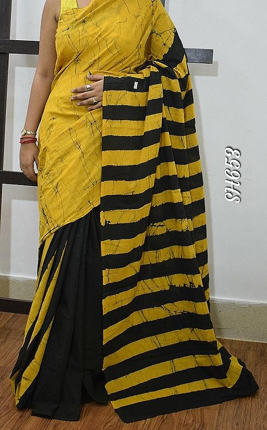 Yellow KK Malmal Cotton Sarees