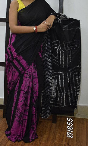 Purple Black KK Malmal Cotton Sarees