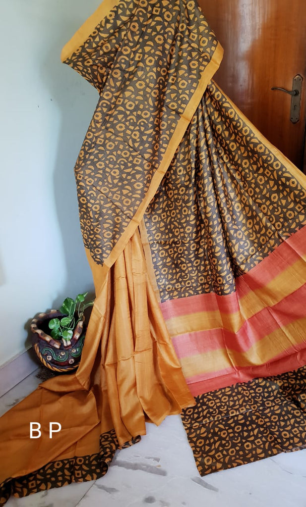 Brown Yellow KK Tussar Silk Sarees