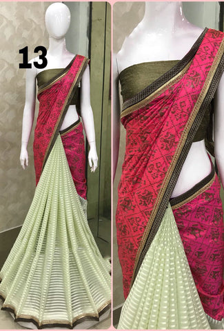 Traditional Orange Red Yellow Crushed Georgette Sarees