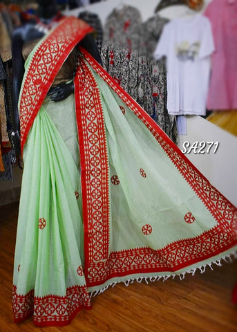 Green Applique Sarees