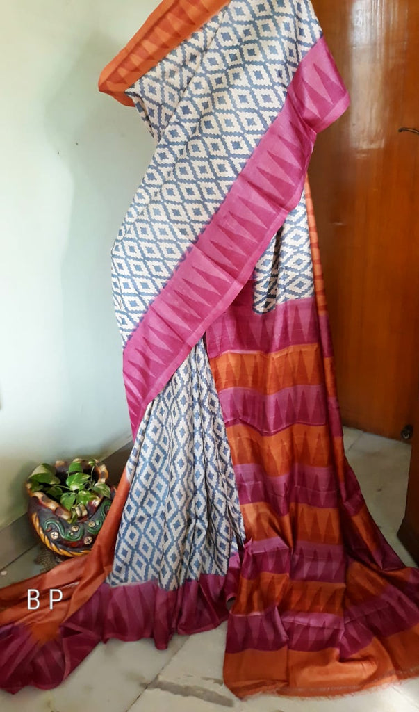 Purple White Handloom Zari KK Tussar Silk Sarees