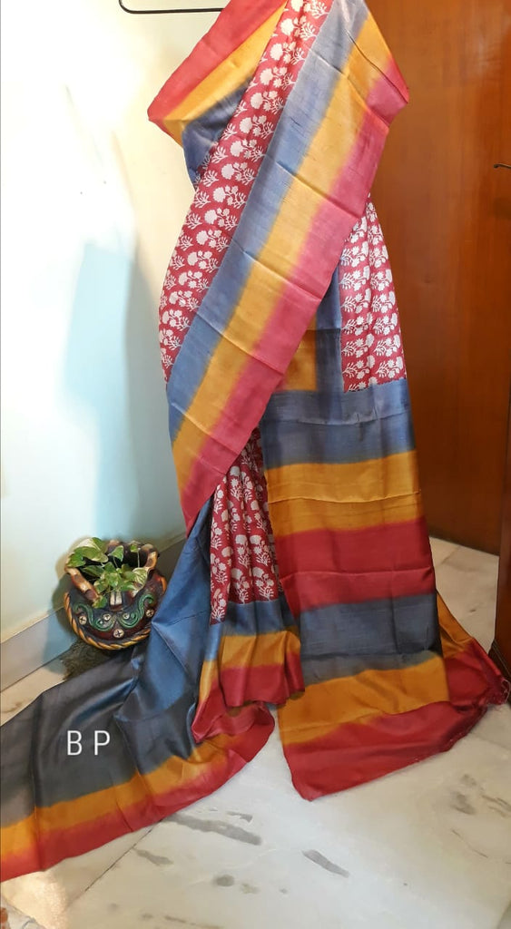 Grey Red Handloom Zari KK Tussar Silk Sarees