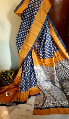 Blue Yellow Handloom Zari KK Tussar Silk Sarees