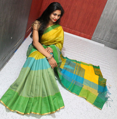 Green Yellow Raw Silk Sarees
