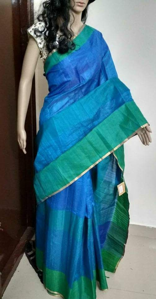 Blue Green Raw Silk Sarees