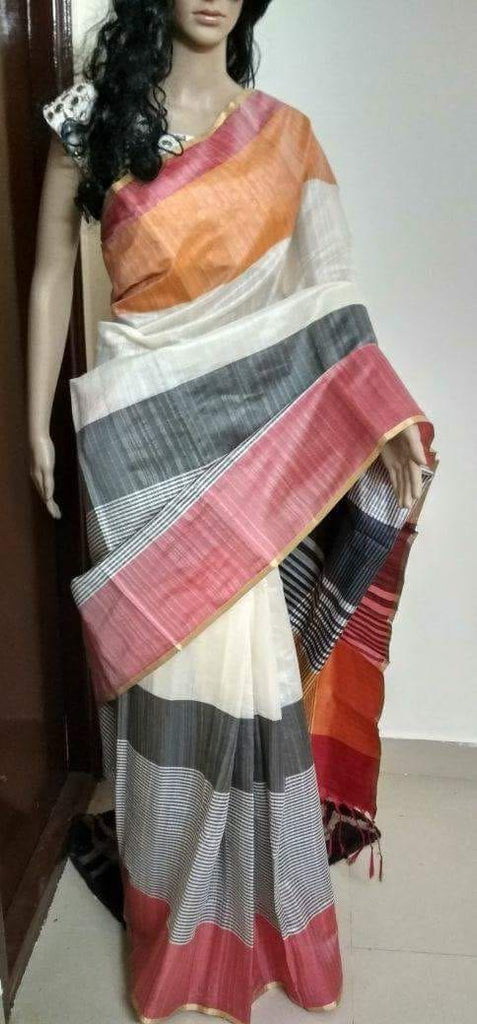 Grey White Raw Silk Sarees