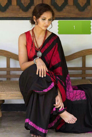 Black Red KK Malmal Batik Sarees
