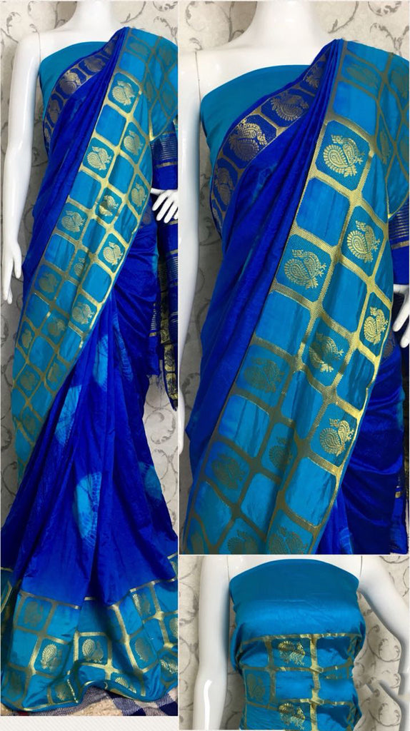 Blue Raw Silk Sarees