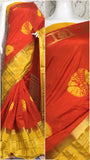 Red Yellow Raw Silk Sarees