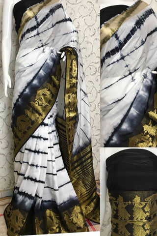 White Black Raw Silk Sarees