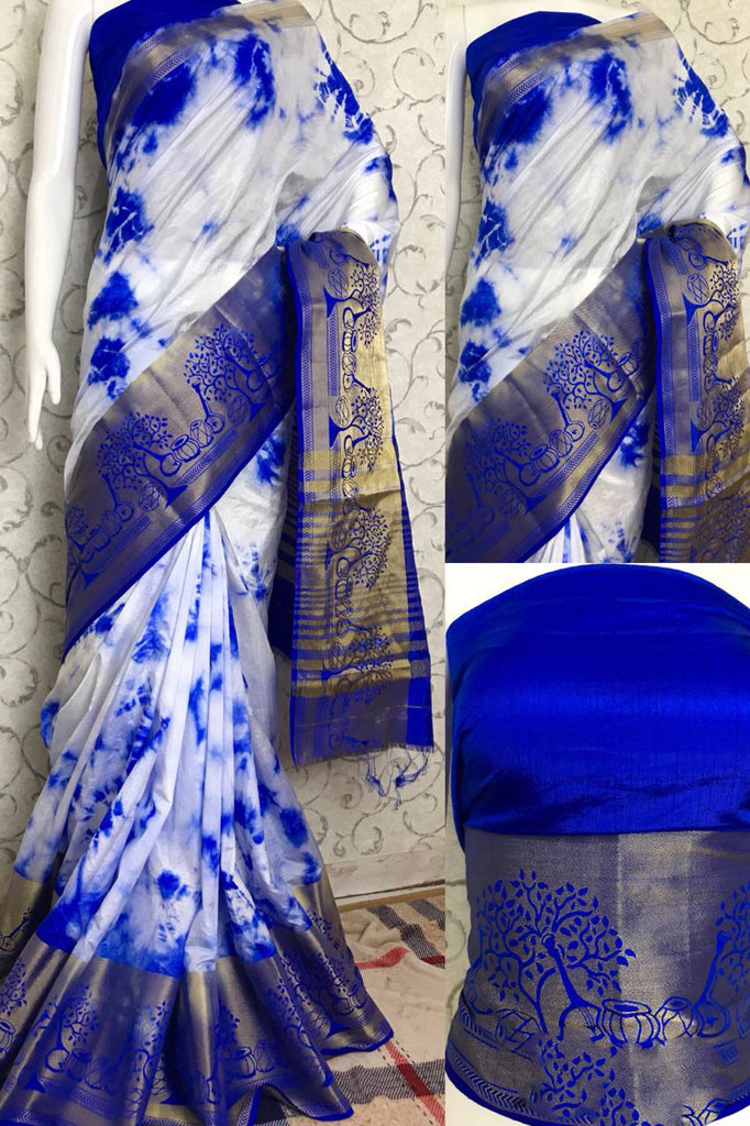 Blue White Raw Silk Sarees