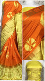 Orange Yellow Raw Silk Sarees