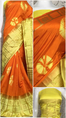 Beige,Red Raw Silk Sarees