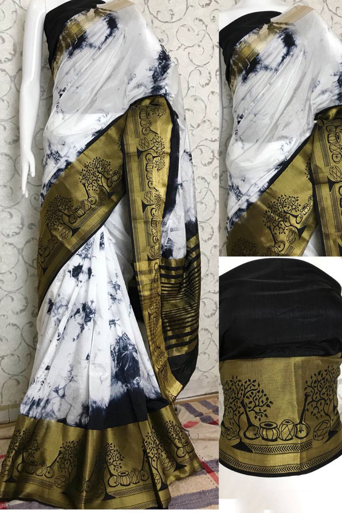 Black White Raw Silk Sarees