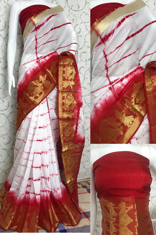 Red White Raw Silk Sarees