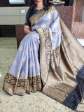 Grey Blue Kanchivaram Silk Sarees