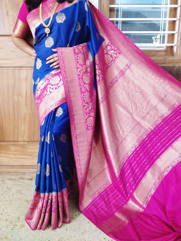 Blue Purple Kanchivaram Silk Sarees