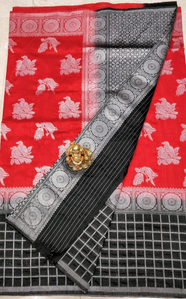 Red Black Dupion Silk Sarees