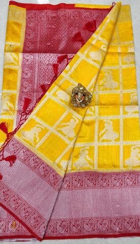 Yellow Red Dupion Silk Sarees